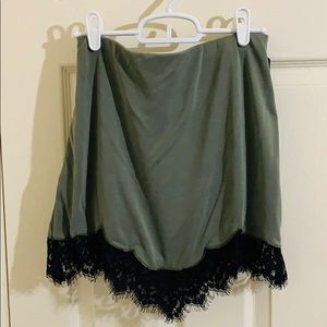 Soft Green Mini Skirt with Embroidered Edge